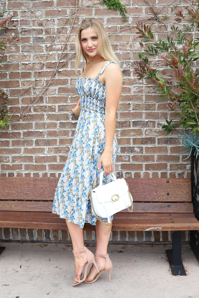 MOMENTS OF BLUE BLOOMS MIDI DRESS