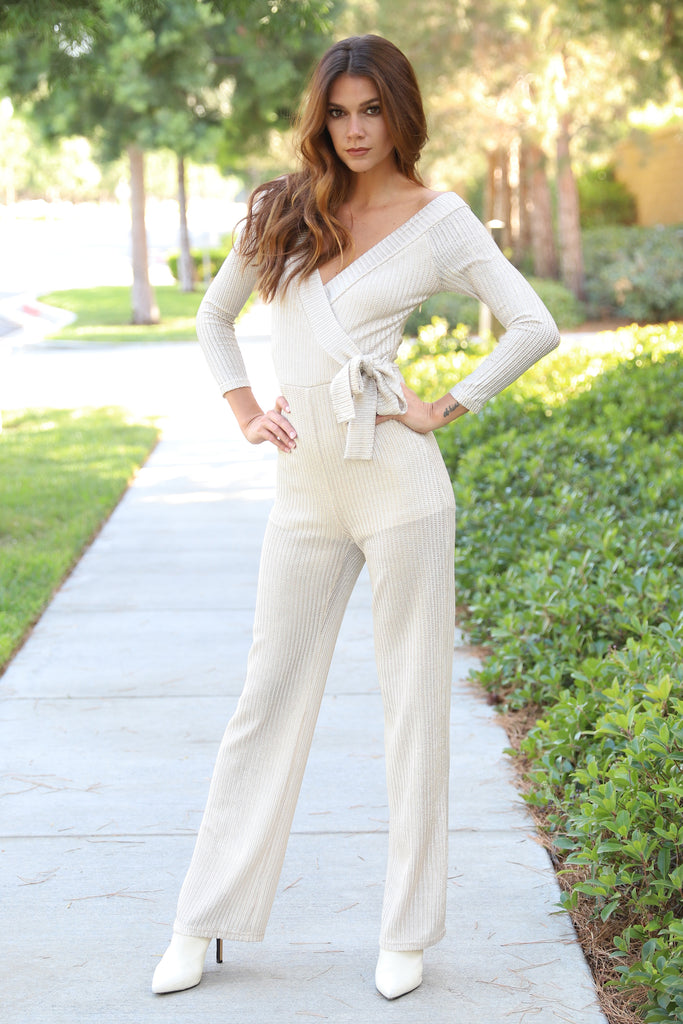BELIEVE IN LOVE CHAMPAGNE JUMPSUIT