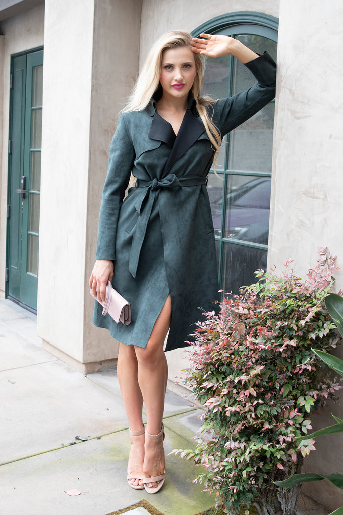 UPTOWN GIRL FOREST GREEN TRENCH COAT