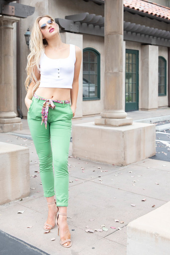 MAKE MOVES GREEN DENIM PANTS