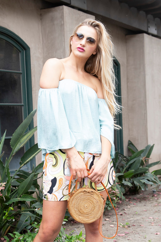 EASY MATCH OFF THE SHOULDER MINT TOP