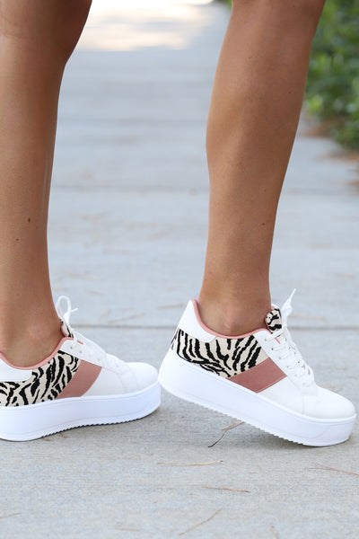 LEOPARD TOUCH CHUNKY PLATFORM WHITE SNEAKERS