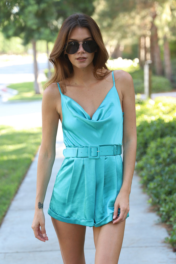 WALKING ON THE CLOUD TURQUOISE SILKY ROMPER