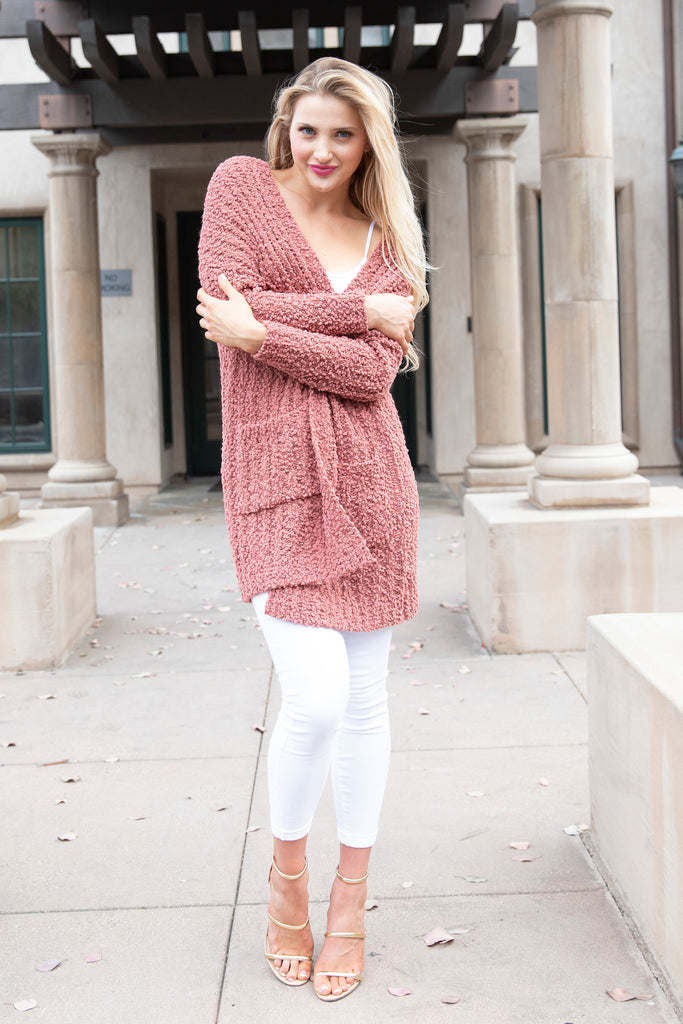 COZY COMFORT RUST ORANGE CARDIGAN