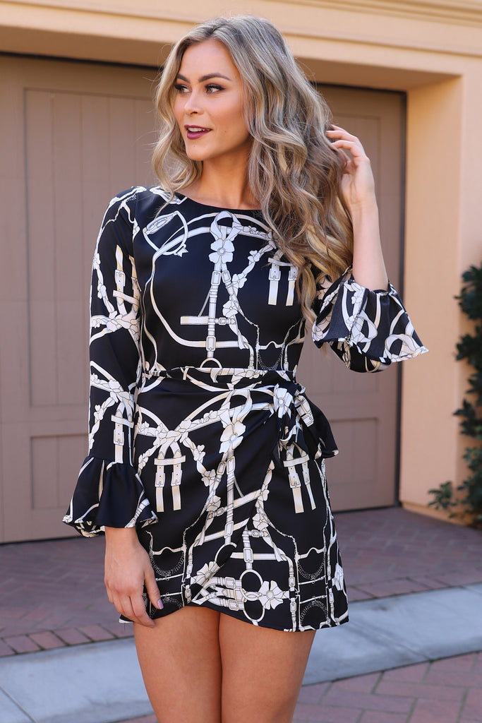 BREAKING CHAINS BLACK AND WHITE DRESS