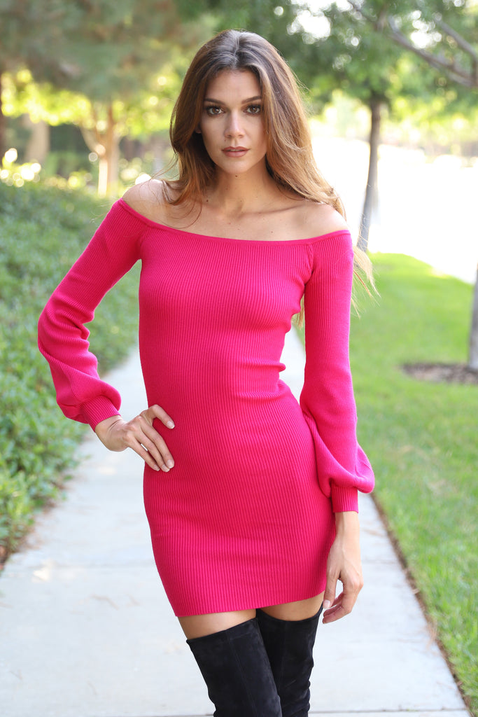 MY HEART BRIGHT PINK SWEATER DRESS