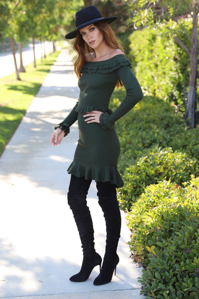 AUTUMN FUN OFF THE SHOULDER GREEN SWEATER TOP