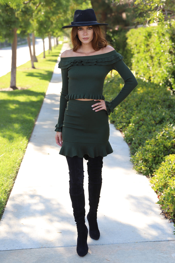 AUTUMN FUN GREEN SWEATER SKIRT