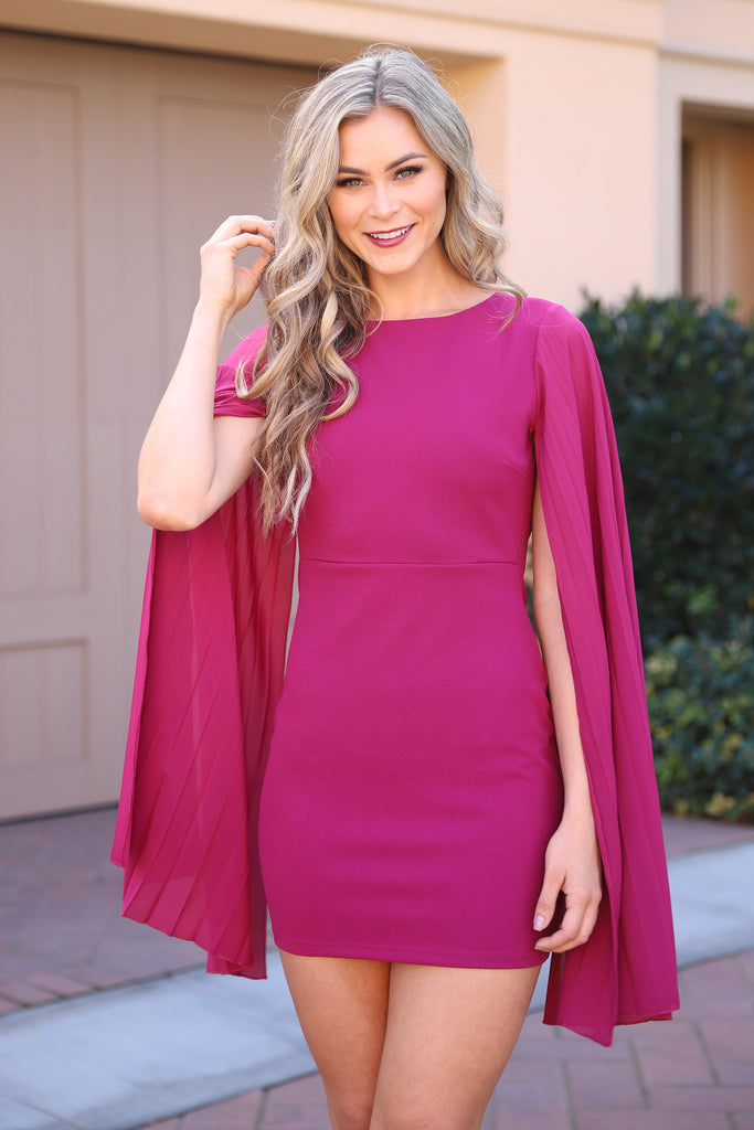 BOSS LADY MINI FUSCHIA CAPE DRESS