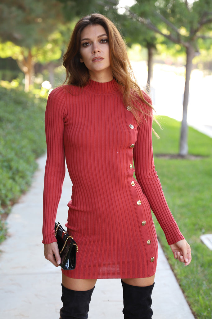 LUXE RUSTY ROSE SWEATER DRESS