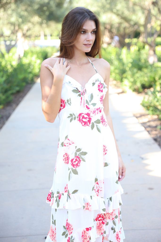 LOVE SONG WHITE FLORAL DRESS