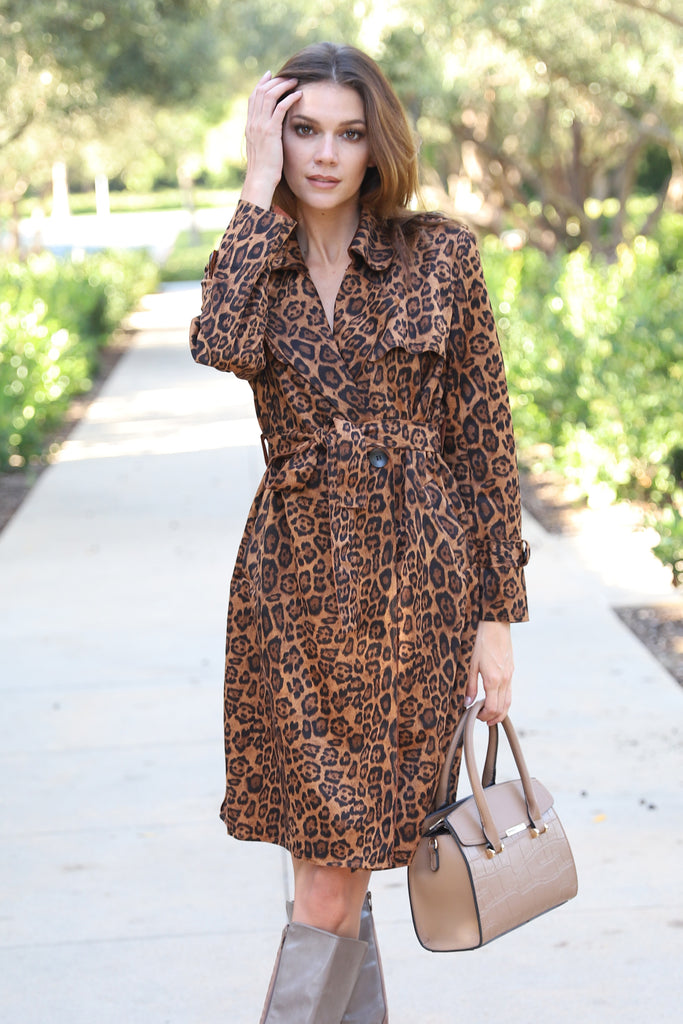 UPTOWN LEOPARD PRINT TRENCH COAT