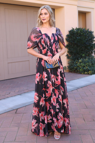 LOVE AND LUXURY BLACK FLORAL MAXI DRESS