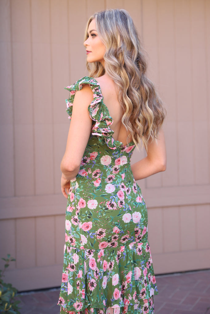 WELCOME SPRING GREEN FLORAL DRESS