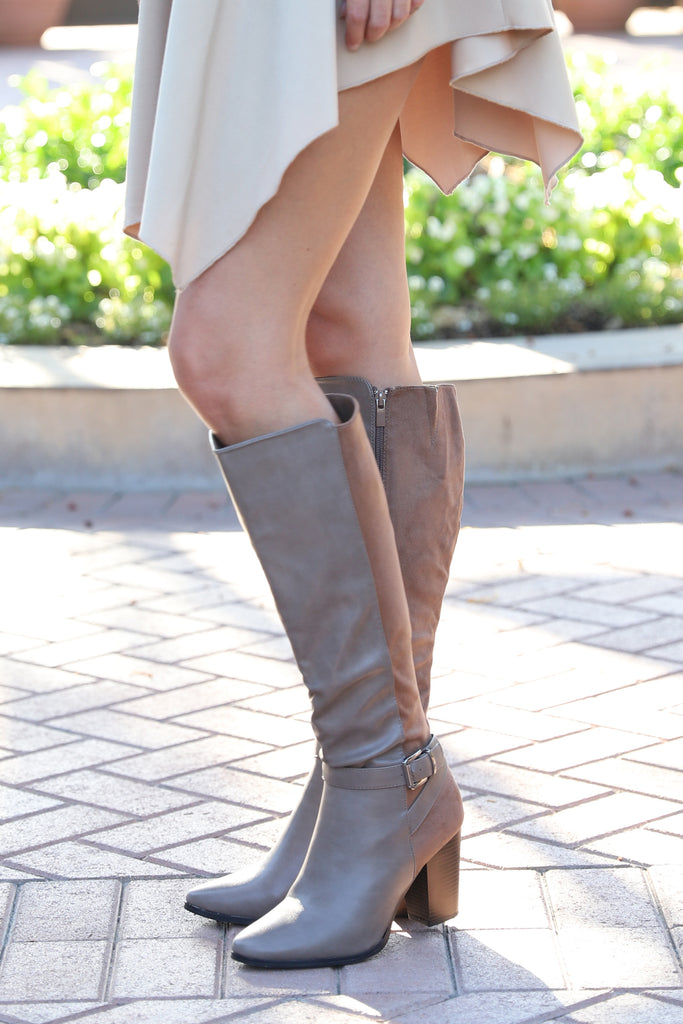 UPTOWN BUCKLE ANKLE TAUPE BOOTS