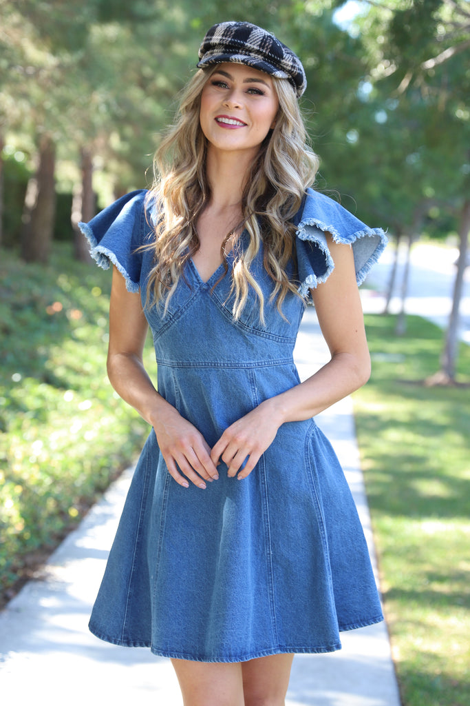 CALI DOLL MEDIUM WASH DENIM DRESS
