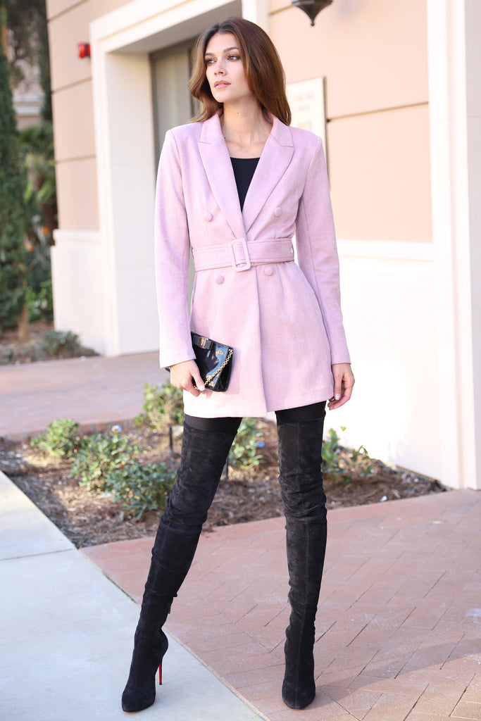 FASHIONABLY CHIC BLUSH TRENCH COAT