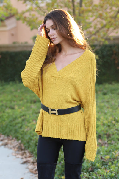 LOVE SNUGGLE MUSTARD KNIT SWEATER
