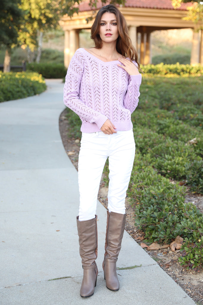 LOVELY LOOSE CROSS LAVENDER SWEATER
