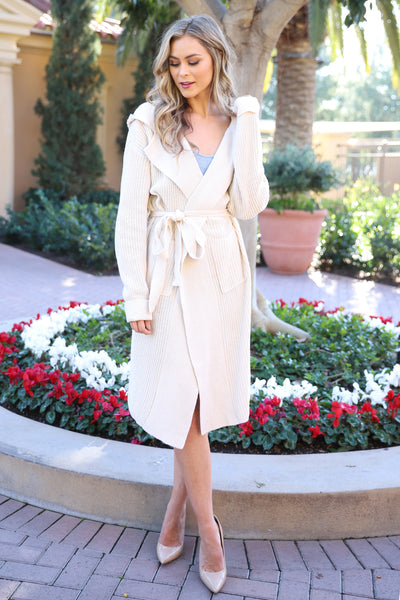 ENDLESS CLASS BEIGE OVERSIZED CARDIGAN