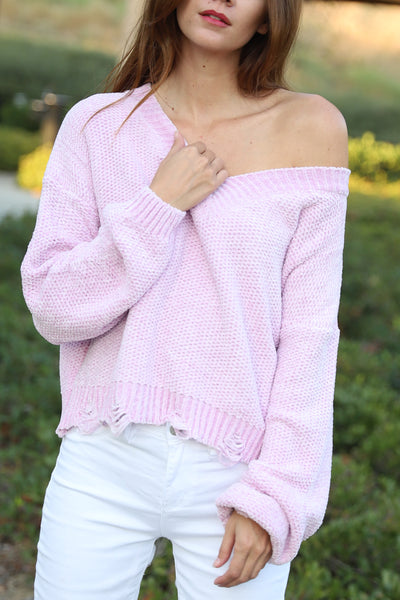 COZY LOVER SOFT BLUSH SWEATER