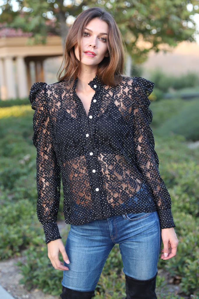 GLAMOROUS EVENING BLACK LACE TOP