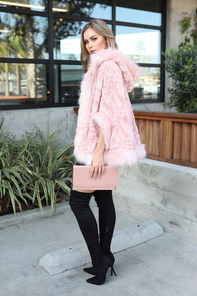 PRE-ORDER: PARIS NIGHTS BLUSH FAUX FUR CAPE