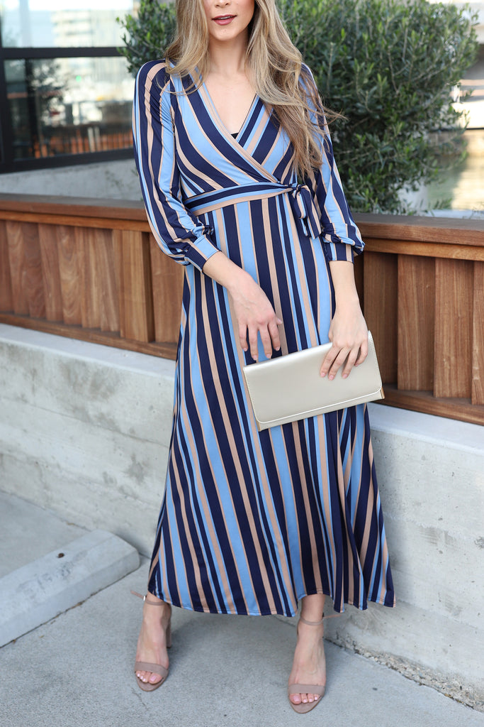 SLAY IN STRIPE NAVY MAXI DRESS