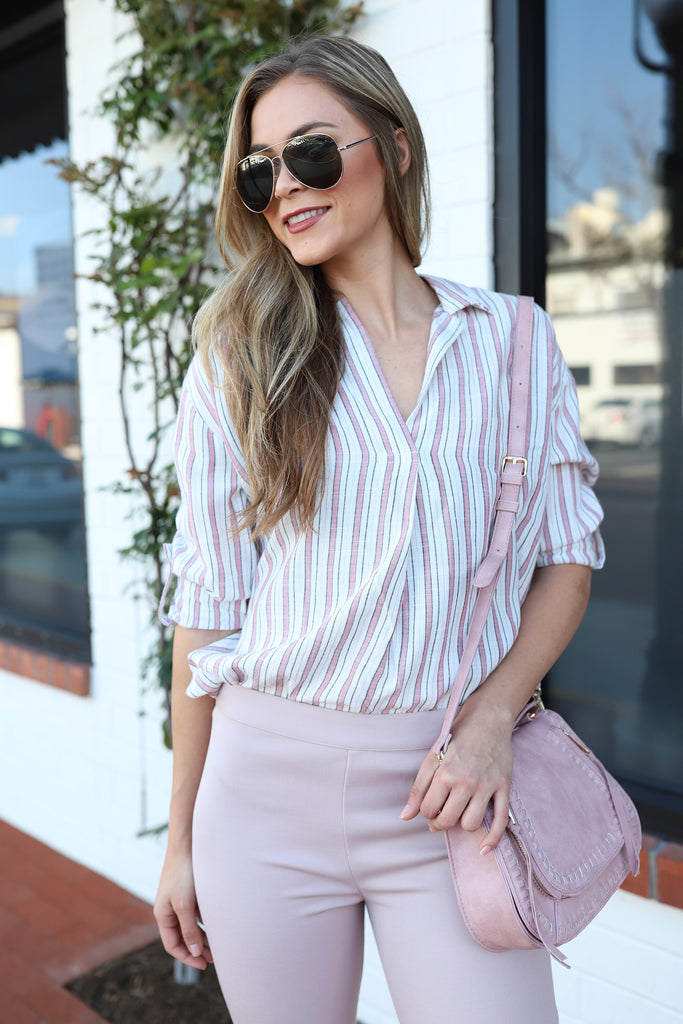LIVING MY LIFE PINK PLAID TOP