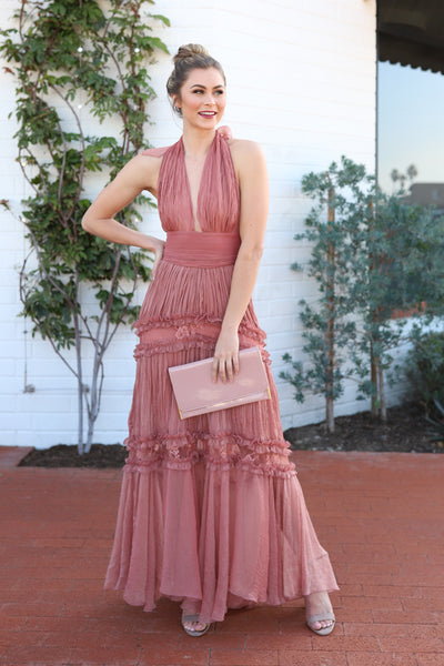 ROMANTIC MEMORIES BLUSH LACE DRESS