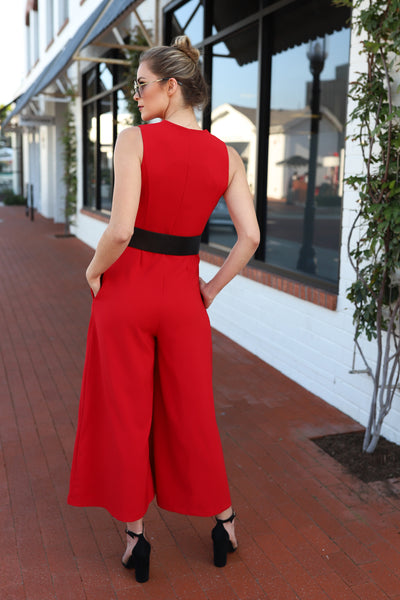 PRE-ORDER: STEAL A KISS RED JUMPSUIT