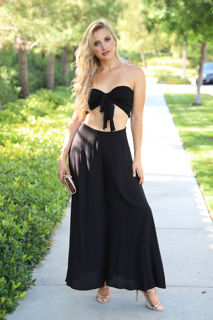 FANTASY BLACK WIDE LEG PANTS