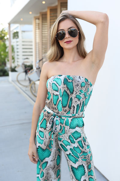 PRE-ORDER: TRUE LOVE GREEN PRINT JUMPSUIT