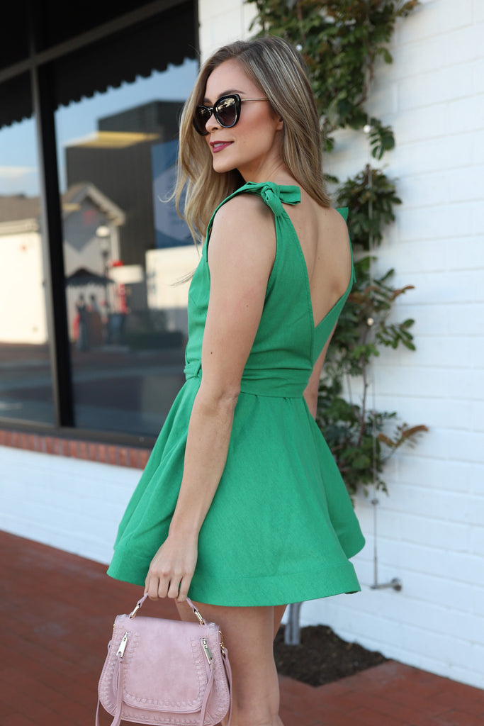 FOREVER GREEN FLARE & FUN DRESS