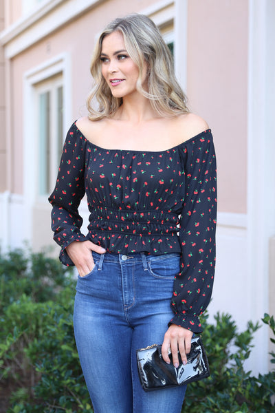 CHERRY PRINT BLACK OFF THE SHOULDER TOP