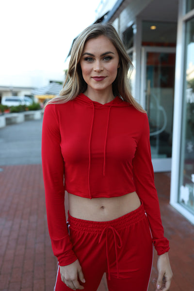 LOVELY COZY RED SWEAT TOP