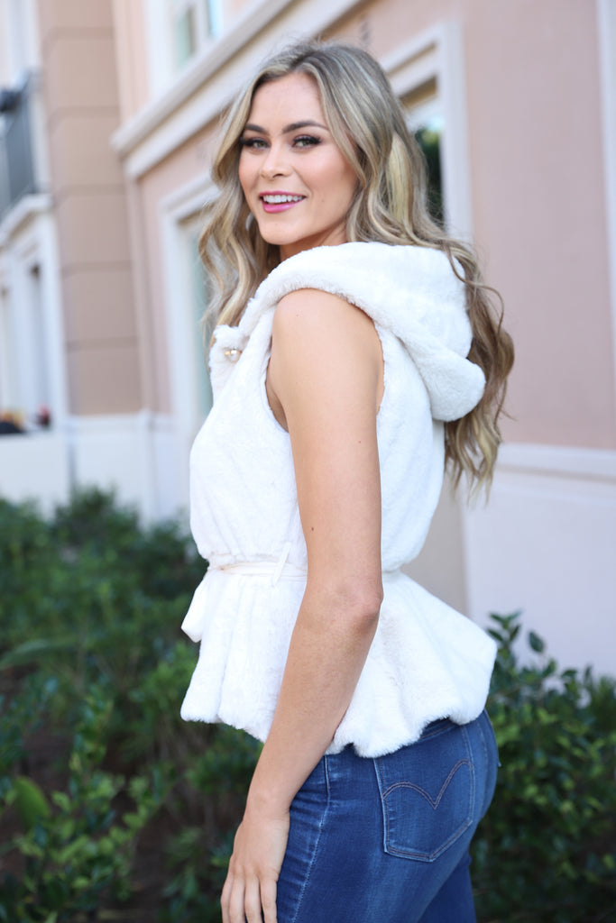 TOAST TO LIFE FAUX FUR VEST