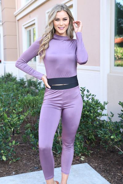 KEEP IT CUTE LAVENDER LEGGINGS