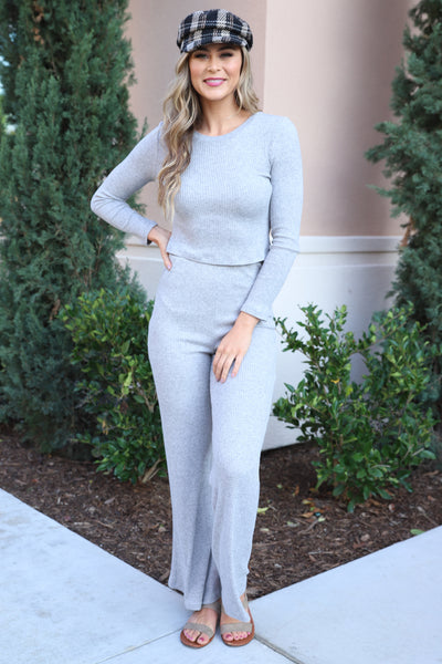 COZY LIVING GREY KNIT PANTS