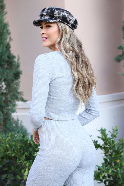 COZY LIVING GREY KNIT TOP