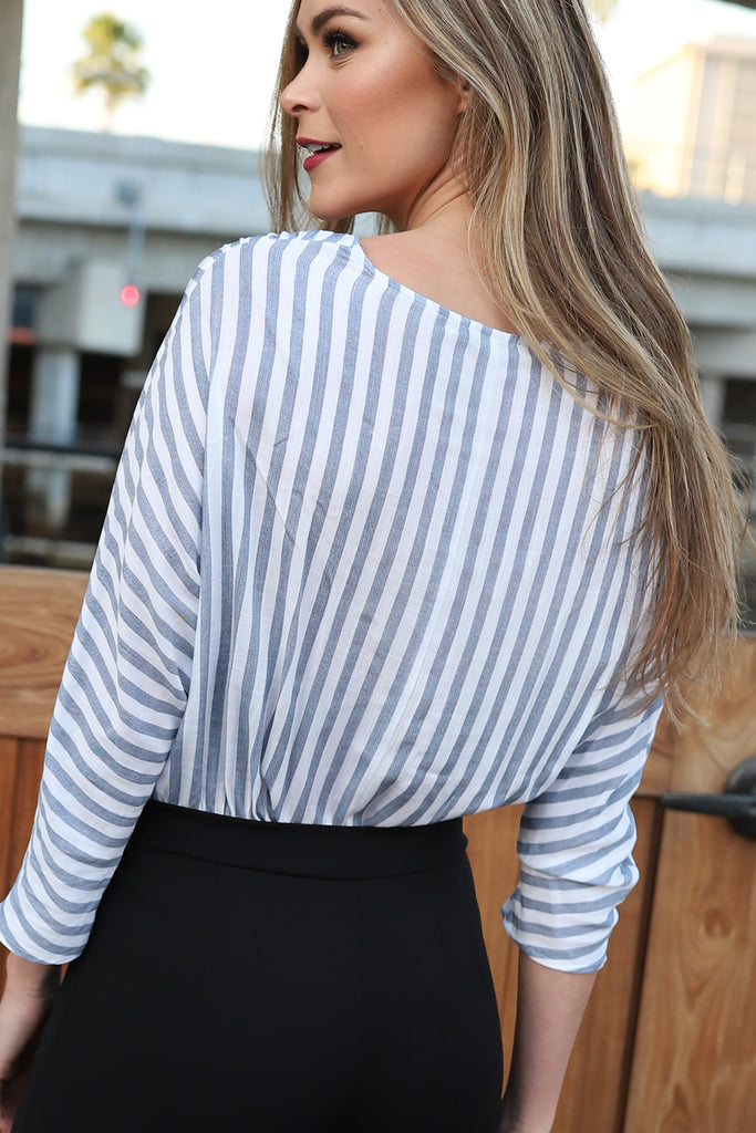 PERFECT PICK WHITE STRIPED BODYSUIT