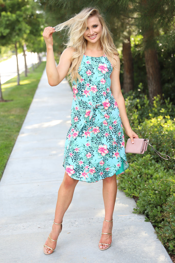 FLOWER SHOP FLIRTS TEAL DRESS