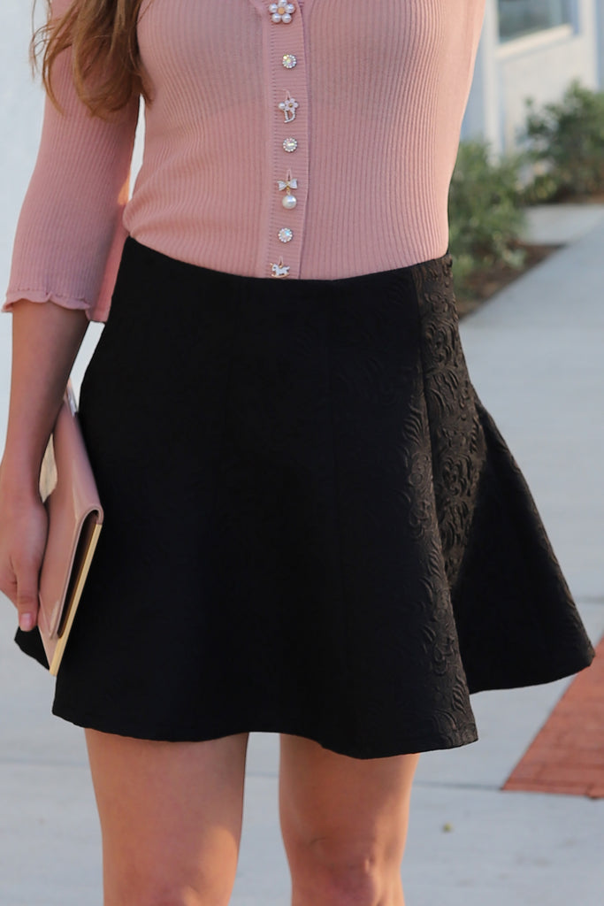 MAKE IT HAPPEN BLACK FLARE SKIRT