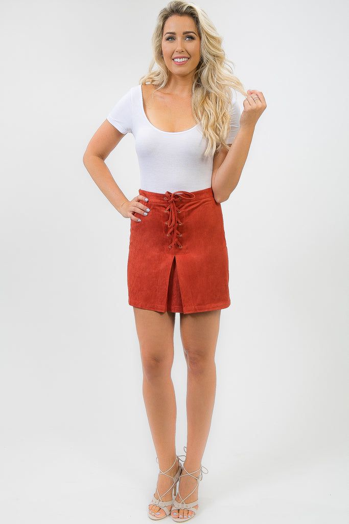 Ochre Orange Suede Samara Skirt
