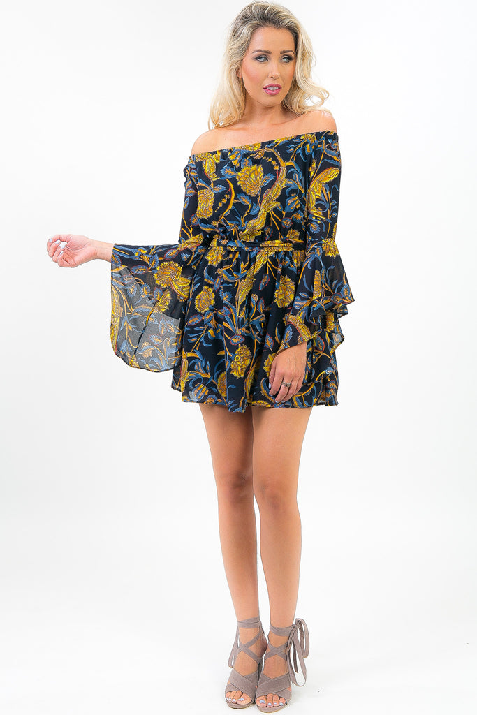 Navy and Gold Floral Print Candie Dress