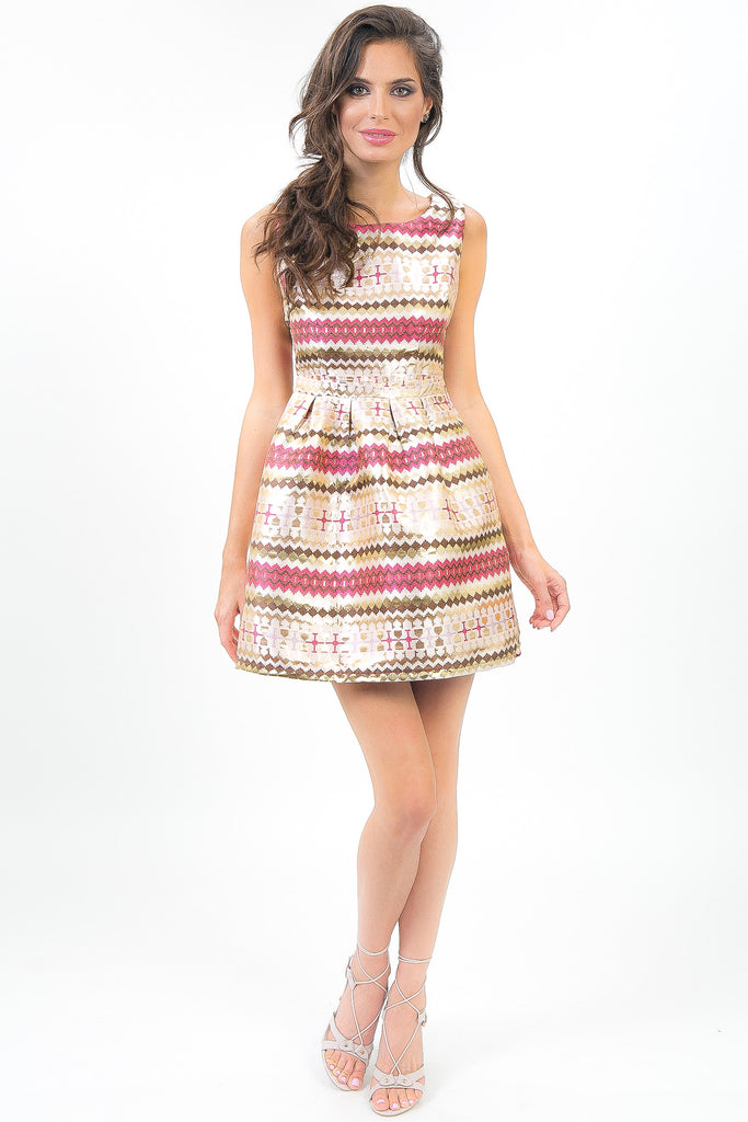 Gold Chevron Striped Stassi Dress