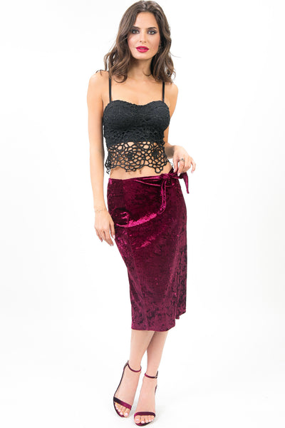 Merlot Crushed Velvet Melina Skirt