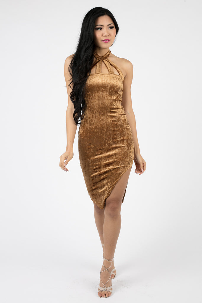 Gold Velvet Valere Strappy Dress