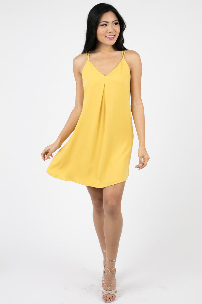 Yellow Yolina Halter Swing Dress