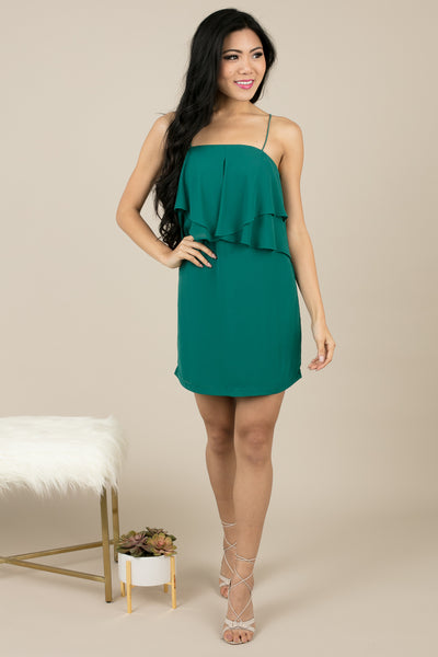 Teal Drape Delaine Party Dress